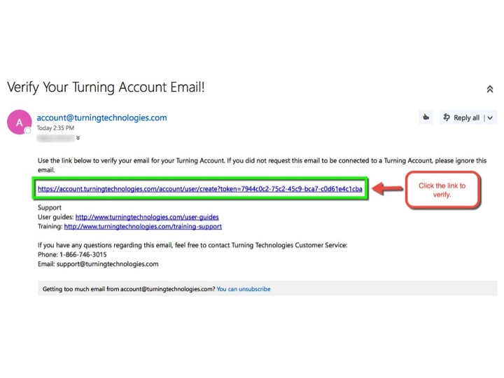 Please click the link to validate your email and continue with your account setup.