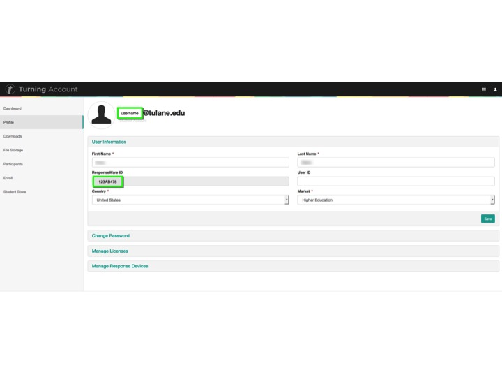 Click Profile from the dashboard menu to locate your ResponseWareID and manage your password.